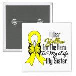 Sarcoma Ribbon My Hero My Sister Pinback Buttons