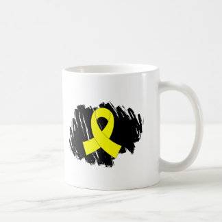 Sarcoma Yellow Ribbon With Scribble Classic White Coffee Mug