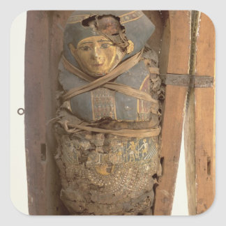 Sarcophagus and mummified body of Psametik I (664- Square Sticker