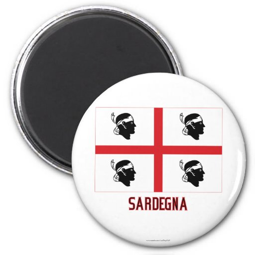Sardegna flag with name 6 cm round magnet