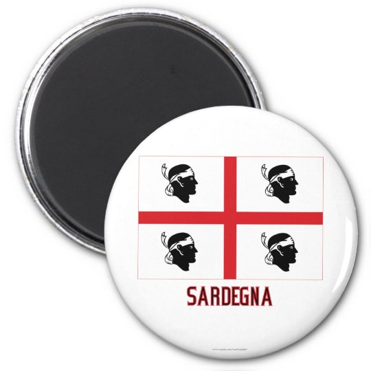 Sardegna flag with name 6 cm round magnet