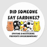 Sardine Cats Round Sticker