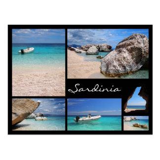 Sardinia beaches black frame collage postcard