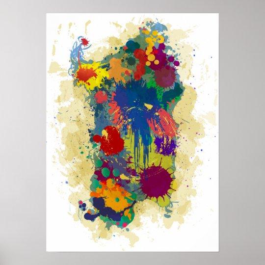 Sardinia, paint drops map poster