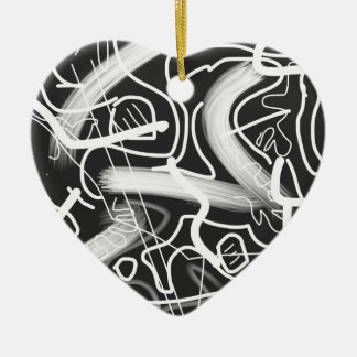 """Sardonic"" Bold Energetic Scribble Pattern Ceramic Heart Decoration"