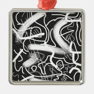 """Sardonic"" Bold Energetic Scribble Pattern Silver-Colored Square Decoration"