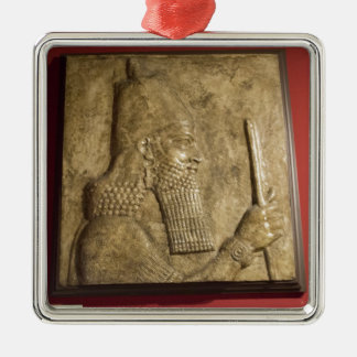 Sargon II-  Egyptian Museum.jpg Silver-Colored Square Decoration
