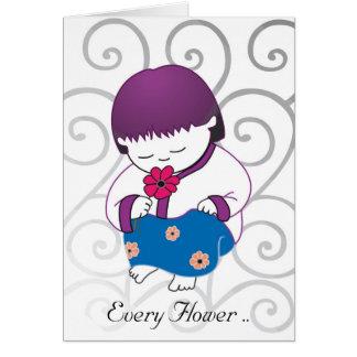 Sarong Girl Flower Smile card