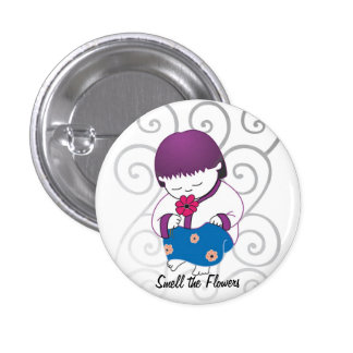 Sarong Girl Smell the Flowers pinback button