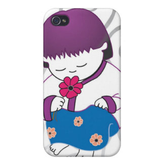 Sarong Girl Smell The Roses iPhone4 case iPhone 4/4S Covers