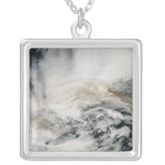 Sarychev Peak blowing across the Sea of Okhotsk Silver Plated Necklace