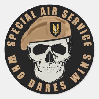 SAS Skull Round Sticker