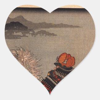 Sasaki Takatsuna fording the Uji river by Utagawa Heart Sticker