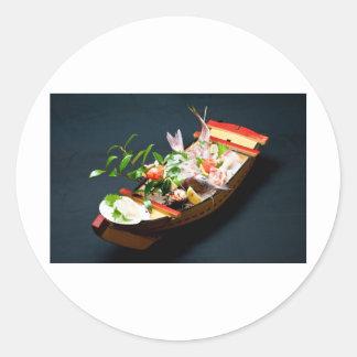 Sashimi Boat. Round Sticker
