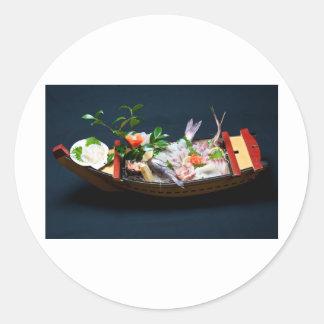 Sashimi Boat. Round Stickers