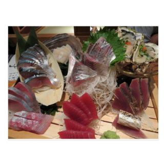 Sashimi Foods Izakaya Cuisine Meal Plate Platter Postcard
