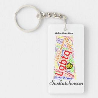 Saskatchewan has pride Double-Sided rectangular acrylic key ring