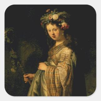 Saskia as Flora, 1634 Square Sticker