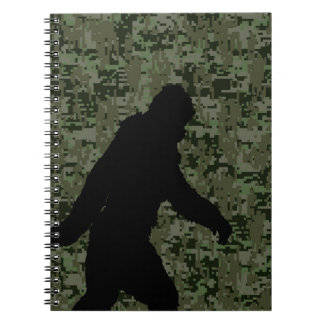 Sasquatch Black Silhouette Digital Camouflage Notebook