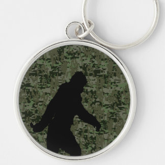 Sasquatch Black Silhouette Digital Camouflage Silver-Colored Round Key Ring