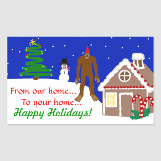 Sasquatch Christmas Greetings Rectangular Sticker