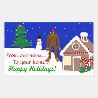 Sasquatch Christmas Greetings Rectangular Sticker