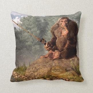 Sasquatch Goes Fishing Throw Pillow