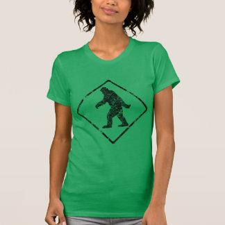 Sasquatch Gone Squatchin Grunge Man Crossing Sign T-Shirt