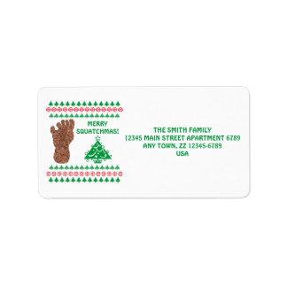 Sasquatch Track Bigfoot Yeti Funny Christmas Address Label