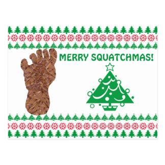 Sasquatch Track Bigfoot Yeti Funny Christmas Postcard