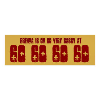 Sassy 60 Sixty Birthday Party Banner Gold and Red Poster