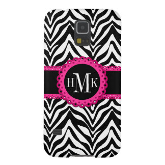 Sassy and Chic Zebra Print Pink Lace Monogram Cases For Galaxy S5