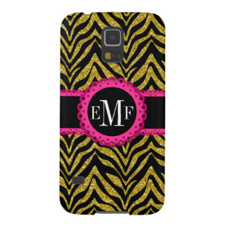 Sassy and Chic Zebra Print Pink Lace Monogram Galaxy S5 Cover