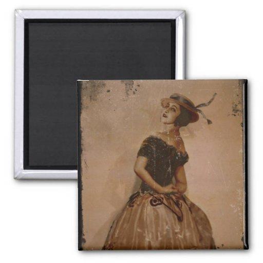 Sassy Ballet Dance in Straw Hat Magnet