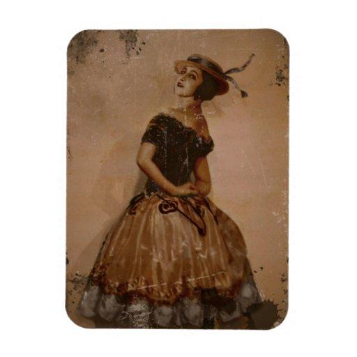 Sassy Ballet Dance in Straw Hat Flexible Magnet