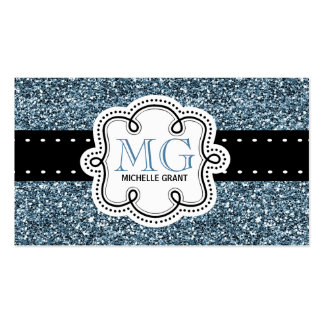 Sassy Blue Glitter Look Ladies Any Profession Business Card Templates
