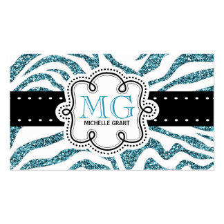 Sassy Bright Blue Glitter Look Zebra ZigZags Pack Of Standard Business Cards