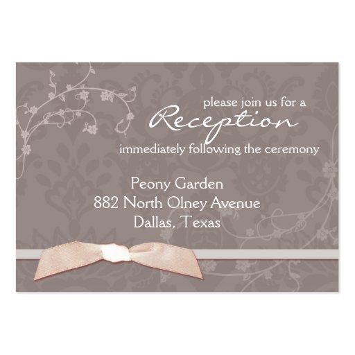 Sassy Damask + Ribbon Wedding Reception (3.5x2.5) Business Cards