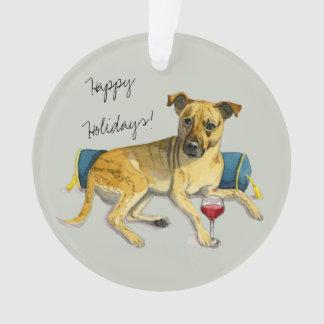 Sassy Dog Enjoying Wine Watercolor Painting