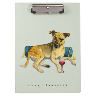 Sassy Dog Enjoying Wine Watercolor Painting Clipboard