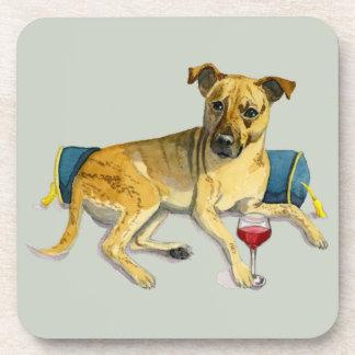 Sassy Dog Enjoying Wine Watercolor Painting Coaster