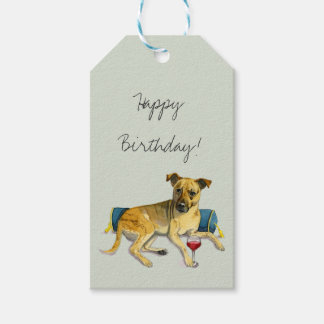 Sassy Dog Enjoying Wine Watercolor Painting Gift Tags