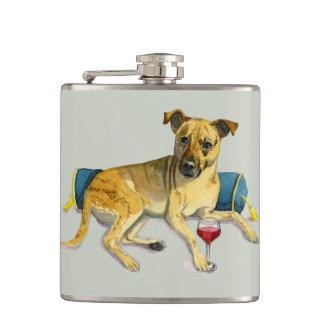 Sassy Dog Enjoying Wine Watercolor Painting Hip Flask
