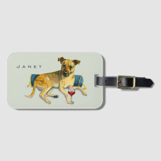 Sassy Dog Enjoying Wine Watercolor Painting Luggage Tag