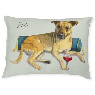 Sassy Dog Enjoying Wine Watercolor Painting Pet Bed