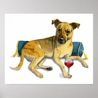 Sassy Dog Enjoying Wine Watercolor Painting Poster