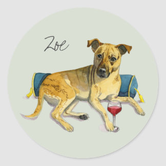 Sassy Dog Enjoying Wine Watercolor Painting Round Sticker