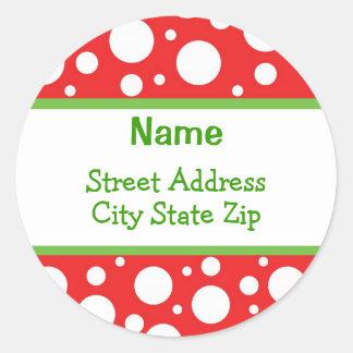 Sassy Dots Christmas Address Labels Round Sticker