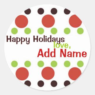 Sassy Dots Personalized Christmas Sticker