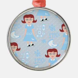 Sassy Fifties Girl Pattern Christmas Ornament